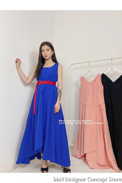 ASYMMETRIC PLEATED LONG DRESS 4094